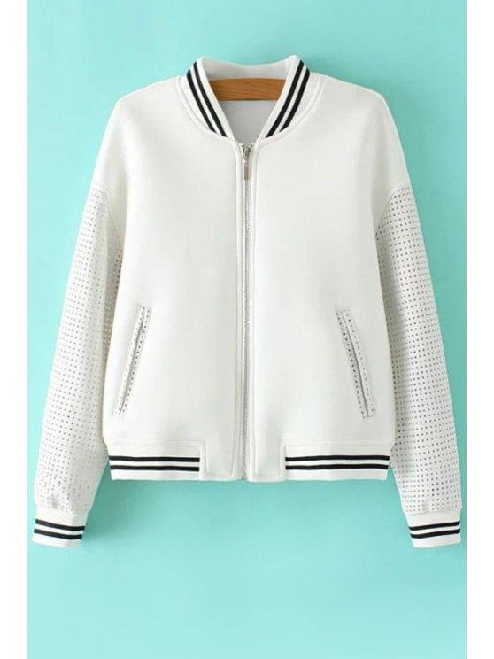 fancy Stripe PU Leather Splicing Long Sleeve Jacket - WHITE S