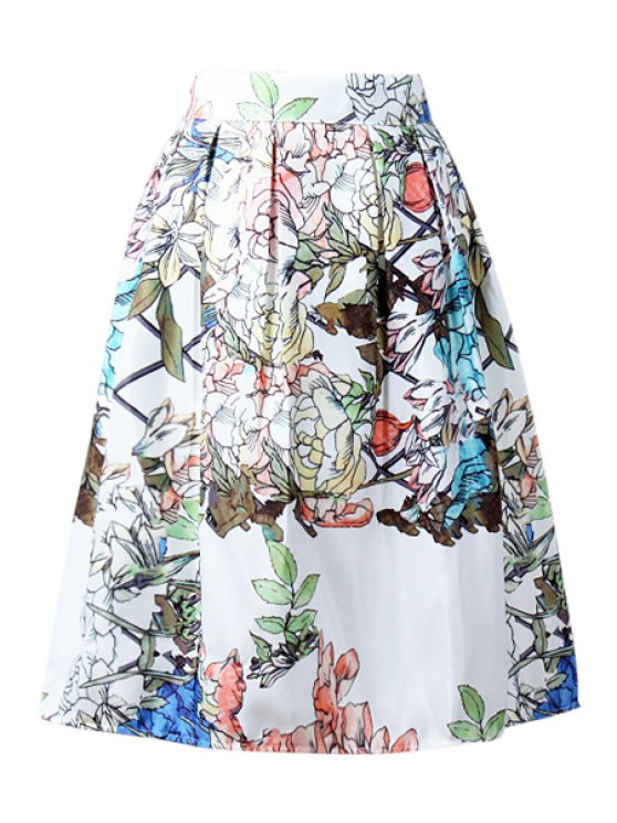 unique High-Waisted Ruffled Plant Midi Skirt - WHITE ONE SIZE(FIT SIZE XS TO M)