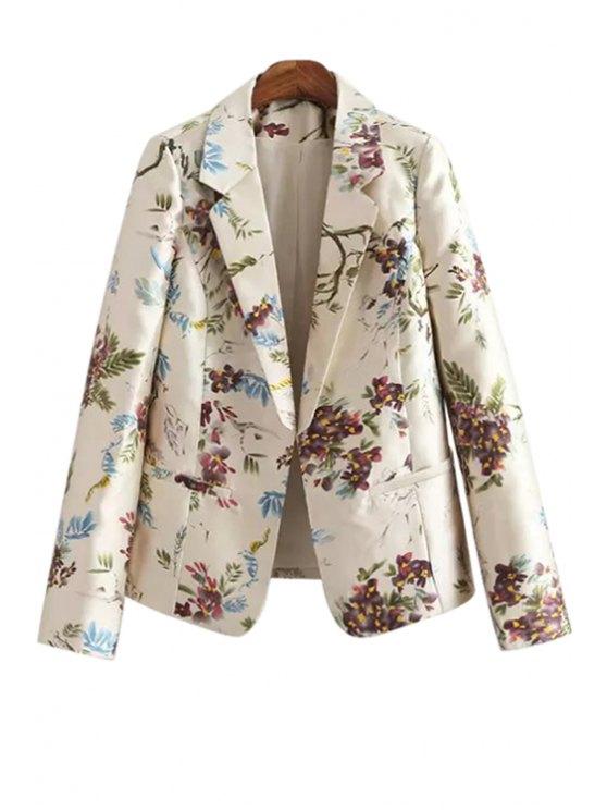women Lapel Floral Print Long Sleeve Blazer - OFF-WHITE S