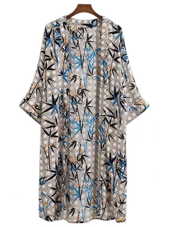 hot Bamboo Print Half Sleeve Blouse - COLORMIX S