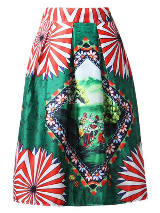 buy A-Line Cartoon Print Stripes Midi Skirt - GREEN ONE SIZE(FIT SIZE XS TO M)