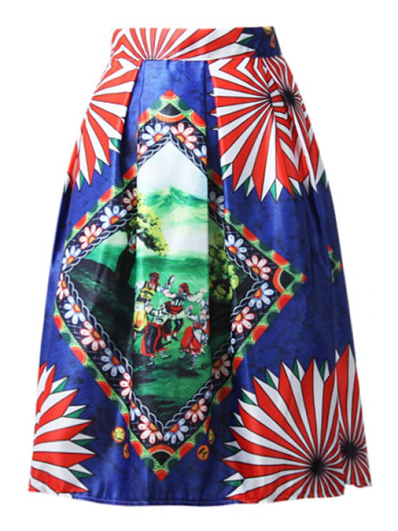affordable A-Line Cartoon Print Stripes Midi Skirt - BLUE ONE SIZE(FIT SIZE XS TO M)
