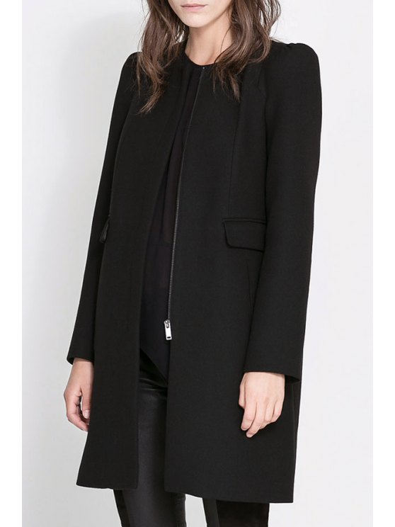 online Pure Color Long Sleeve Zipper Coat - BLACK S