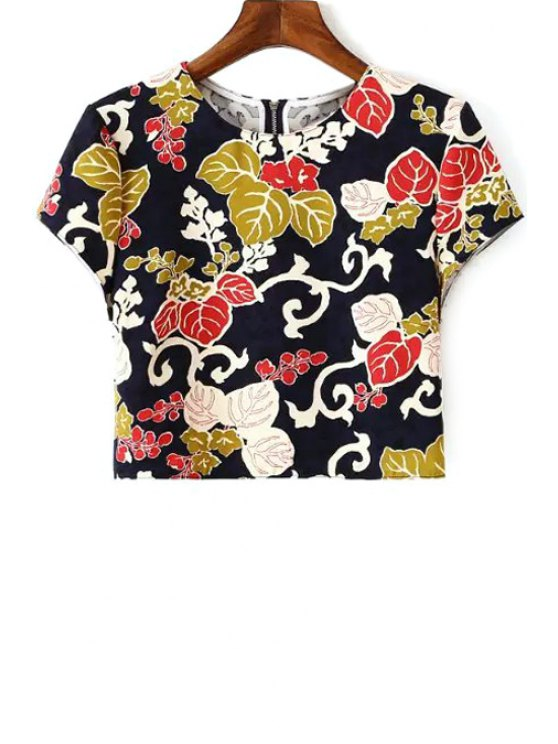 affordable Leaves Print Short Sleeve Crop Top - COLORMIX S