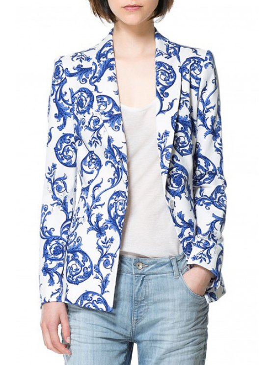 shops Vintage Print Long Sleeve Blazer - BLUE AND WHITE M