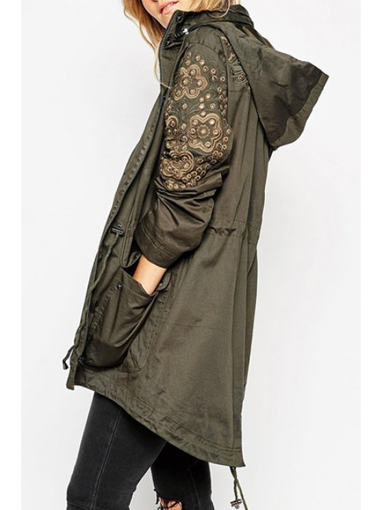 chic Floral Embroidery Hooded Trench - ARMY GREEN S