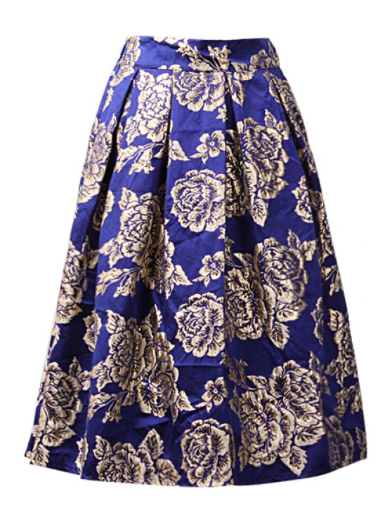 ladies Ruffled A-Line Floral Pattern Midi Skirt - BLUE ONE SIZE(FIT SIZE XS TO M)