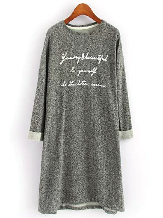 trendy Letter Print Long Sleeve Knitted Dress - GRAY ONE SIZE(FIT SIZE XS TO M)