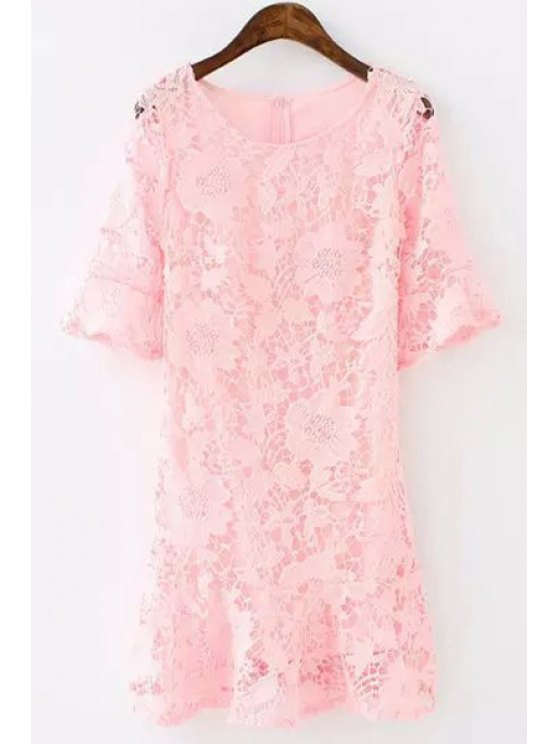 online Lace Floral Openwork Half Sleeve Dress - PINK S