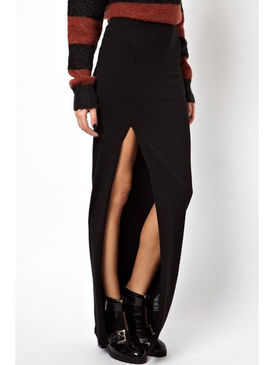 outfit Solid Color High Low Long Skirt - BLACK S