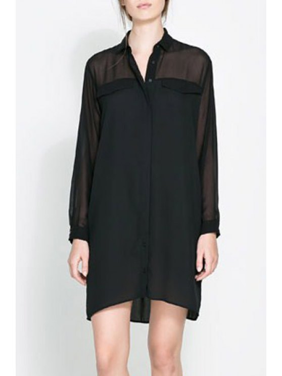 affordable See-Through Solid Color Long Sleeve Dress - BLACK S
