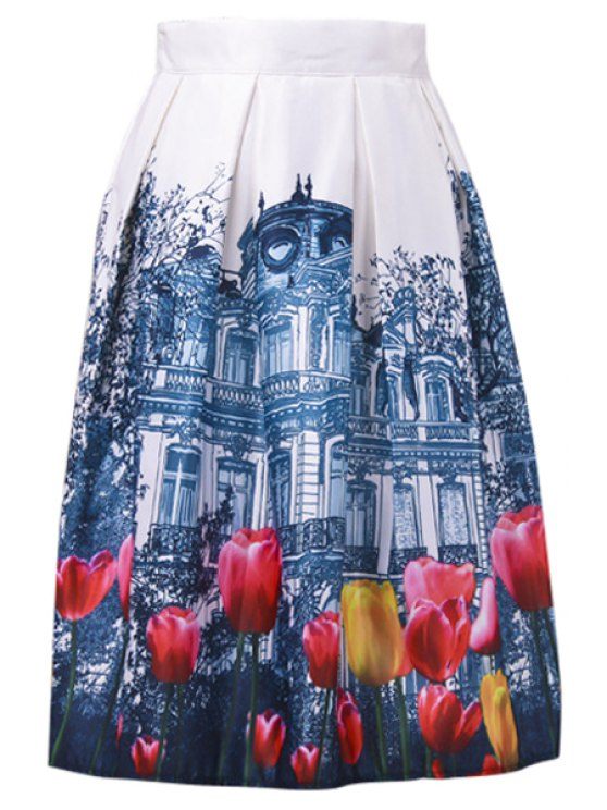 shop A-Line Castal and Tulip Print Midi Skirt - WHITE ONE SIZE(FIT SIZE XS TO M)