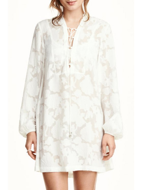 womens White Lace Plunging Neck Long Sleeve Dress - WHITE S