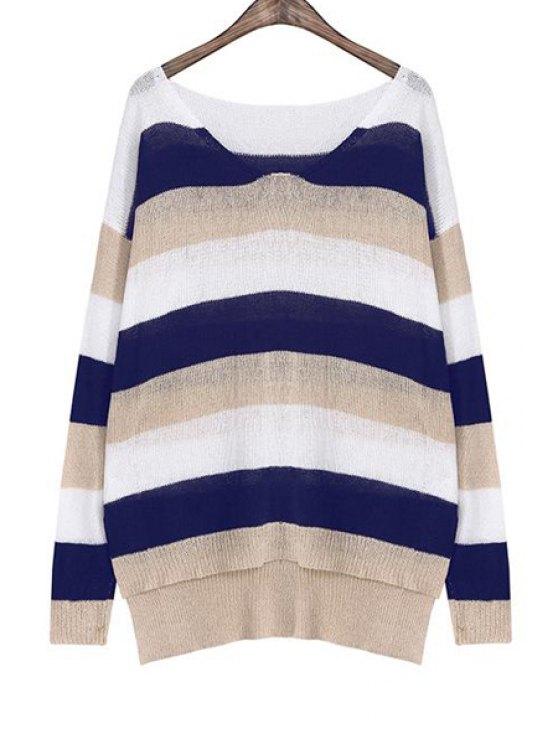 chic Color Block Striped Irregular Hem Sweater - KHAKI ONE SIZE(FIT SIZE XS TO M)