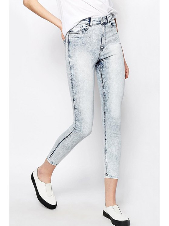latest Solid Color High Waisted Skinny Jeans - WHITE S