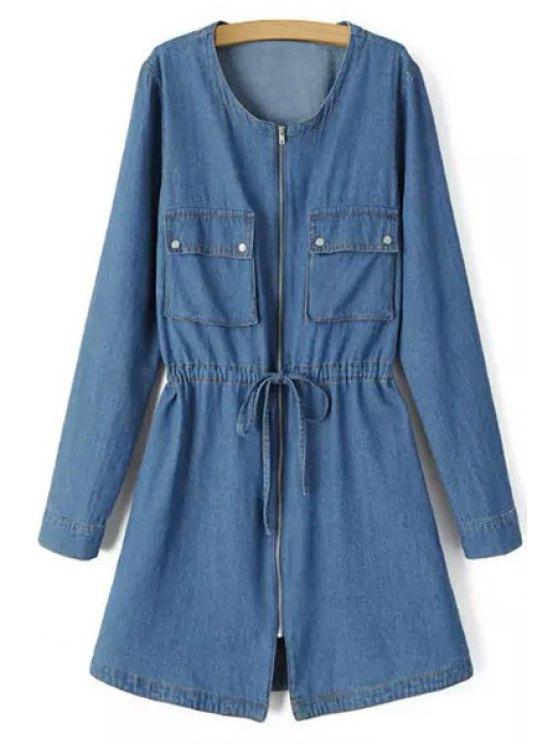 women Pocket Bleach Wash Zipper Denim Dress - BLUE S