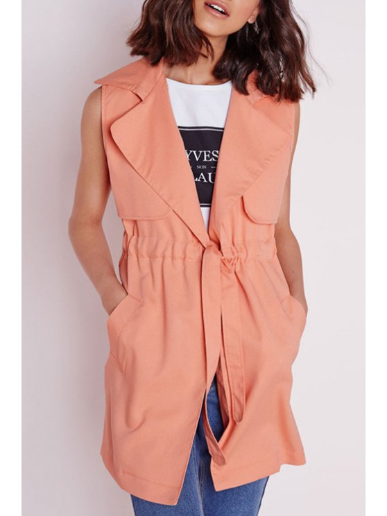 lady Pure Color Lapel Sleeveless Trench - ORANGEPINK S