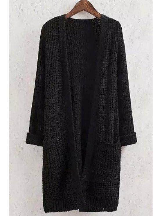 shop Solid Color Pocket Long Sleeve Collarless Cardigan - BLACK S
