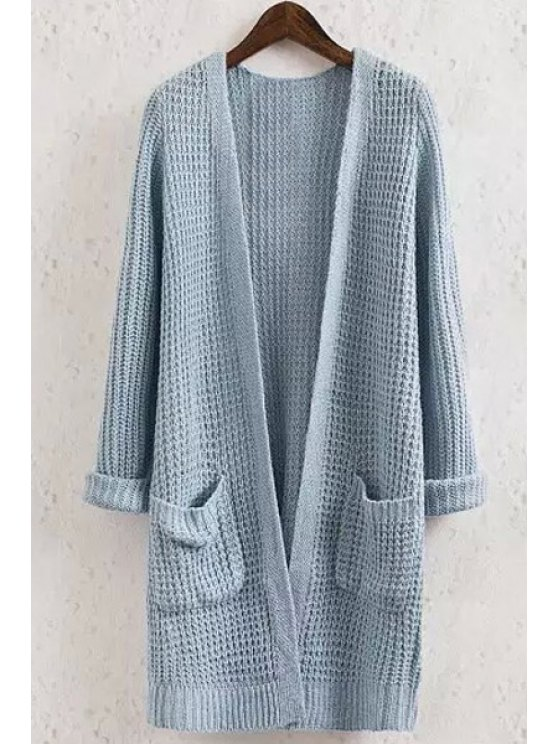 buy Solid Color Pocket Long Sleeve Collarless Cardigan - BLUE L