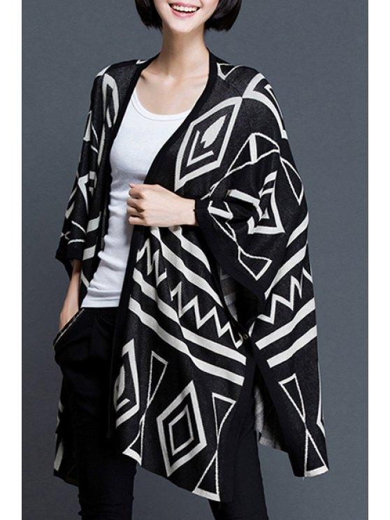 women Geometric Pattern Collarless Cardigan - BLACK ONE SIZE(FIT SIZE XS TO M)