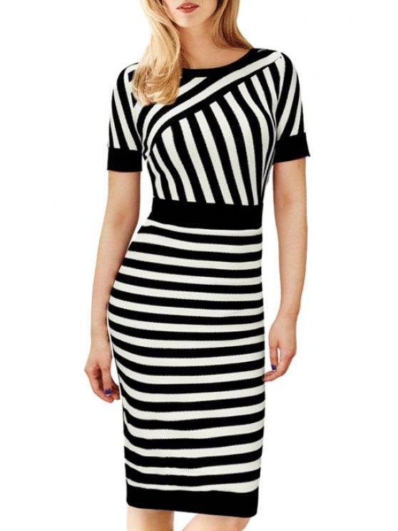 ladies Stripes Spliced Short Sleeve Midi Dress - WHITE AND BLACK S