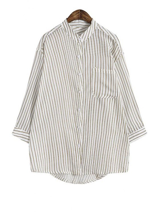 trendy Single-Breasted Verticle Stripes Blouse - KHAKI ONE SIZE(FIT SIZE XS TO M)