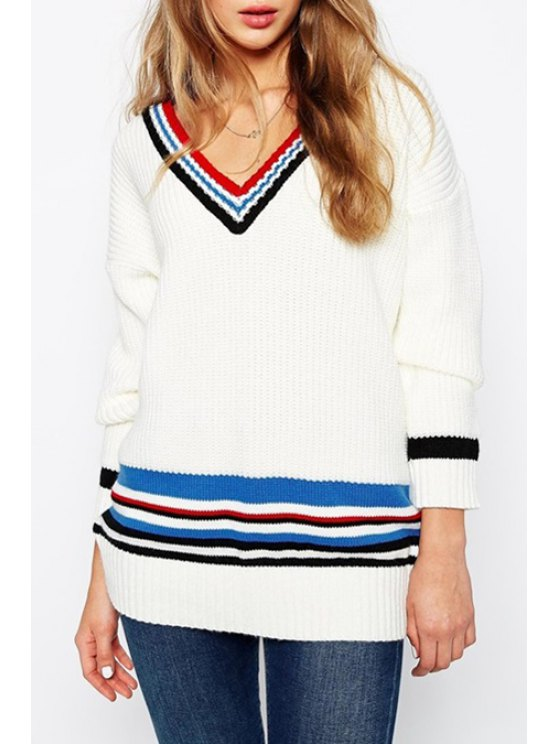 online Colorful Stripes V Neck Sweater - WHITE ONE SIZE(FIT SIZE XS TO M)