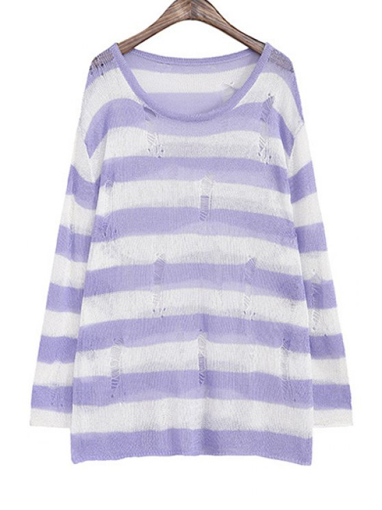 latest Striped Color Block Broken Hole Sweater - LIGHT PURPLE ONE SIZE(FIT SIZE XS TO M)