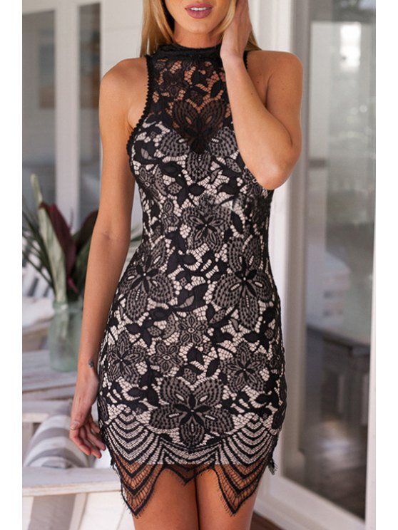 outfits See-Through Backless Lace Sleeveless Dress - BLACK S