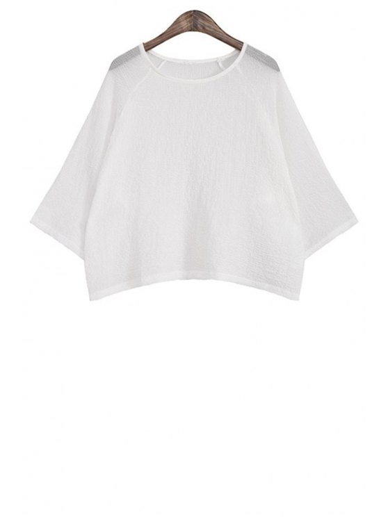 shop Wide Sleeve Solid Color Loose T-Shirt - WHITE ONE SIZE(FIT SIZE XS TO M)