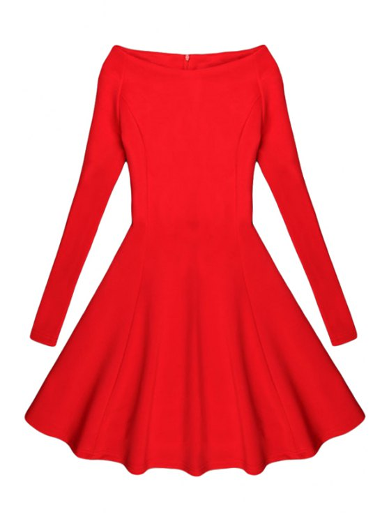 new Black Slash Neck Long Sleeve A Line Dress - RED M