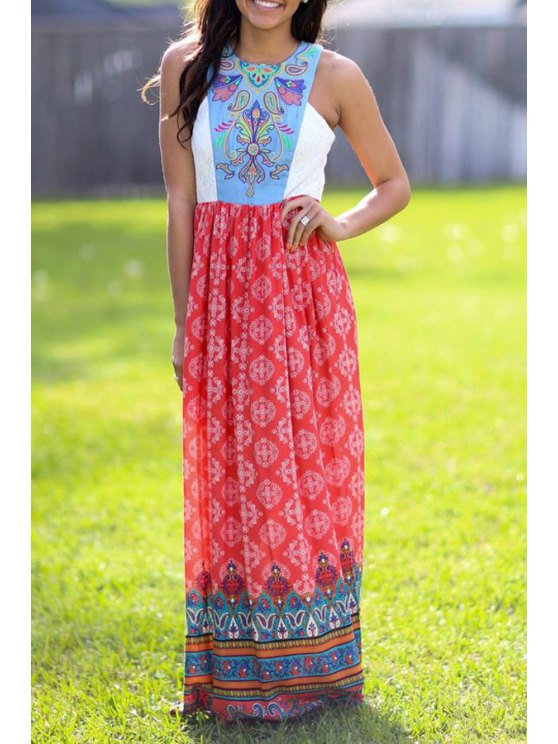 ladies Vintage Print Spliced Sleeveless Maxi Dress - COLORMIX S
