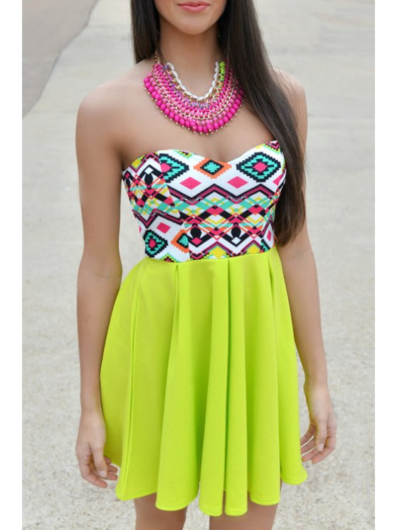 fancy Geometric Print Spliced Strapless Dress - GREEN S