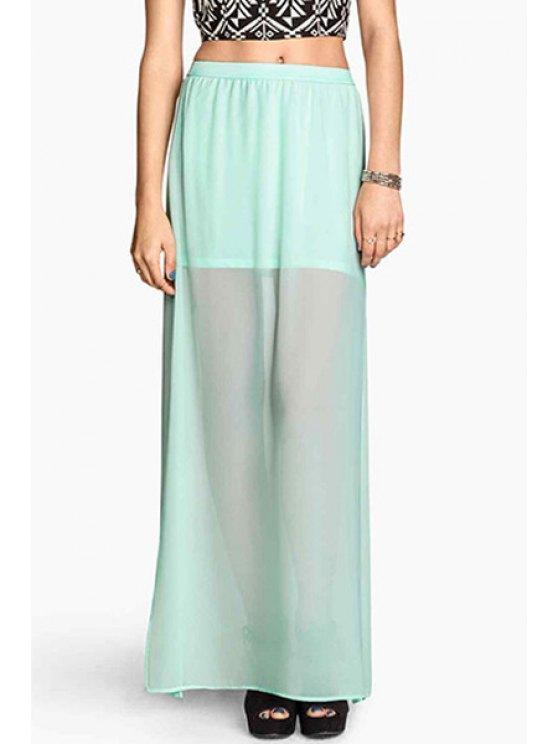 shops See-Through High Slit Skirt - MINT GREEN S