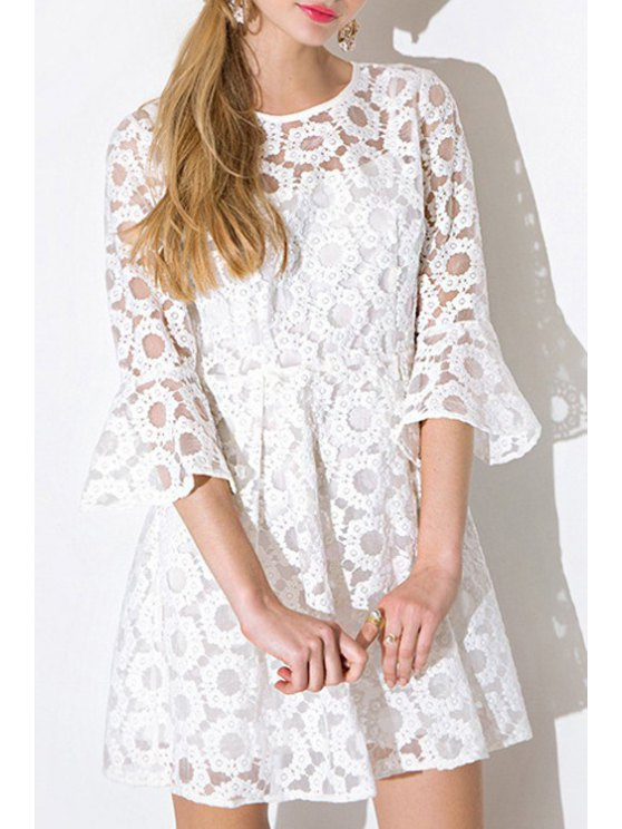 sale See-Through Tiny Floral Lace Half Sleeve Dress - WHITE S