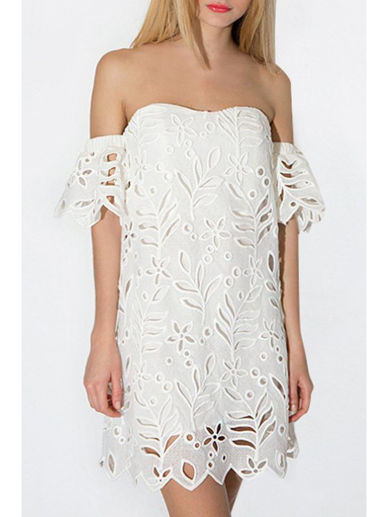 unique Strapless Floral Openwork Short Sleeve Dress - WHITE S