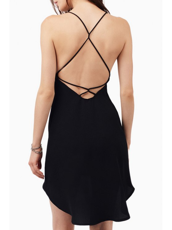 outfits Spaghetti Strap Cross Backless High Low Dress - BLACK S