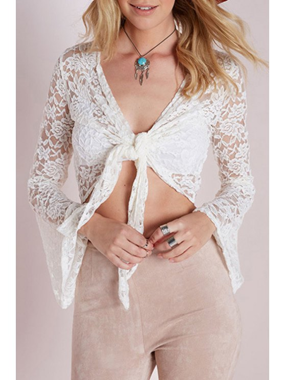 women Tie Knot See-Through Long Sleeve Blouse - WHITE S