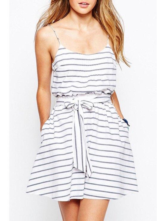 hot Spaghetti Strap Stripe Tie-Up Sleeveless Dress - WHITE S
