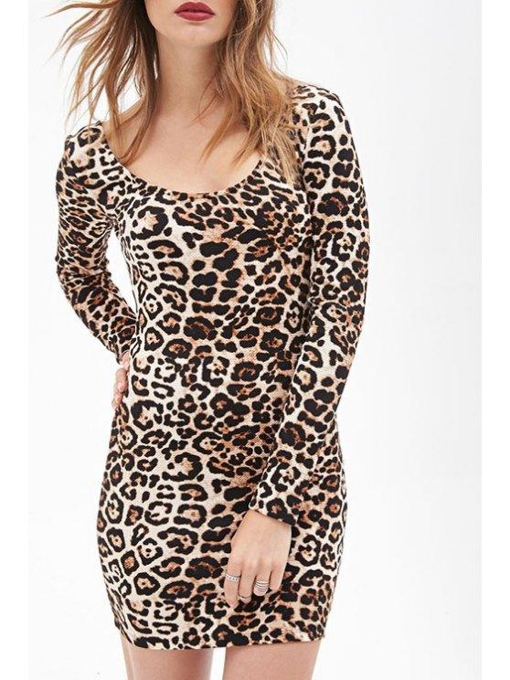 sale Long Sleeve Leopard Print Bodycon Dress - LEOPARD S