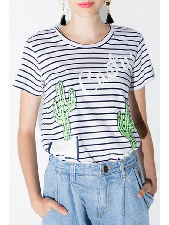 ladies Stripe Cactus Pattern Sequins Short Sleeve T-Shirt - WHITE AND BLACK S
