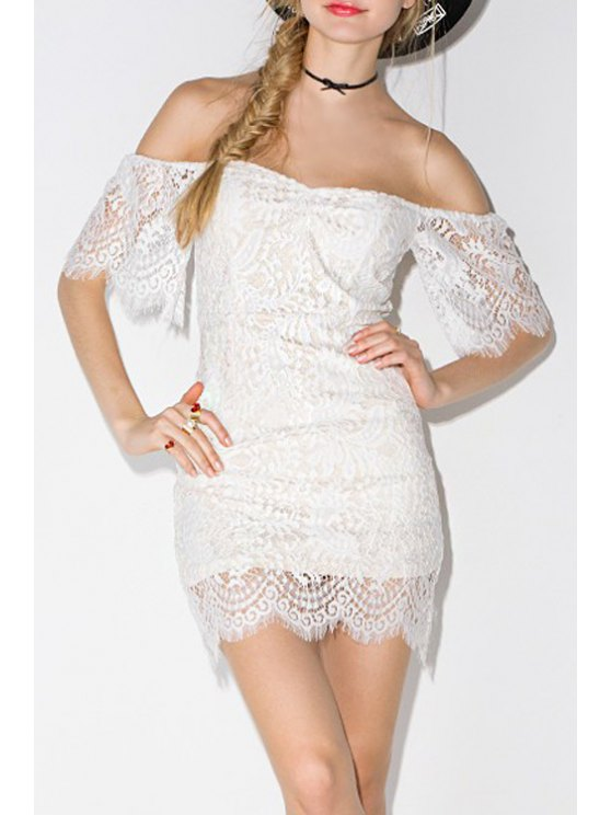 new Strapless Lace See-Through Short Sleeve Dress - WHITE S
