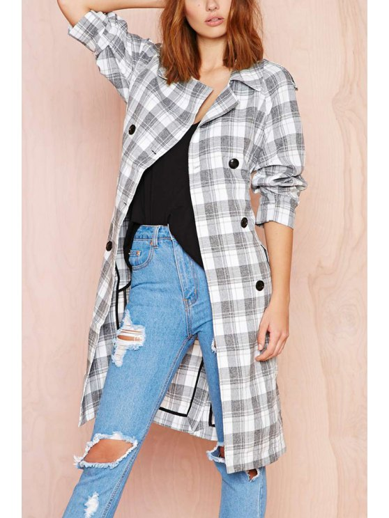 shops Plaid Double-Breasted Long Sleeve Trench Coat - GREY AND WHITE S