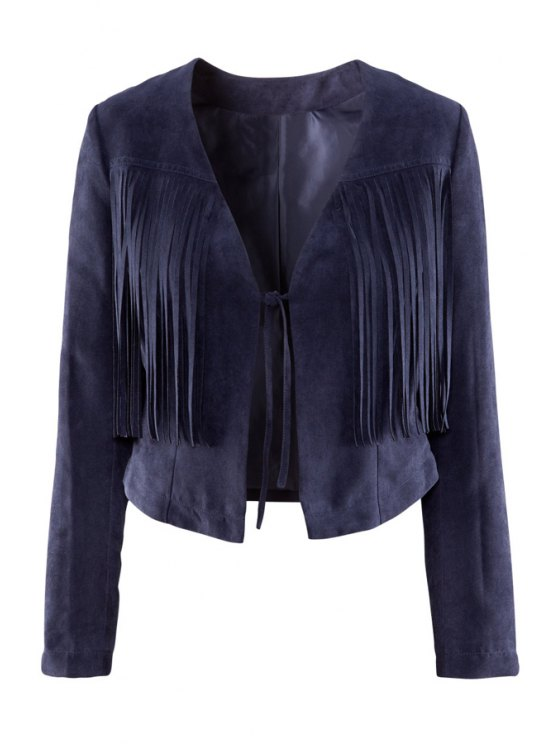 fashion Tie-Up Tassel Splicing Long Sleeve Coat - DEEP BLUE S