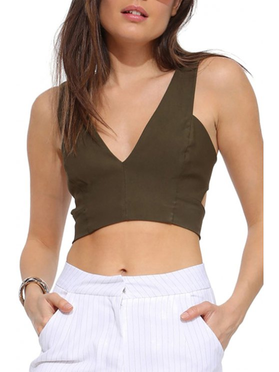 affordable Solid Color Hollow Out Sleeveless Crop Top - ARMY GREEN S