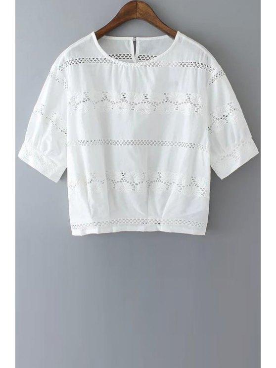 ladies Openwork Floral Pattern Short Sleeves T-Shirt - WHITE S
