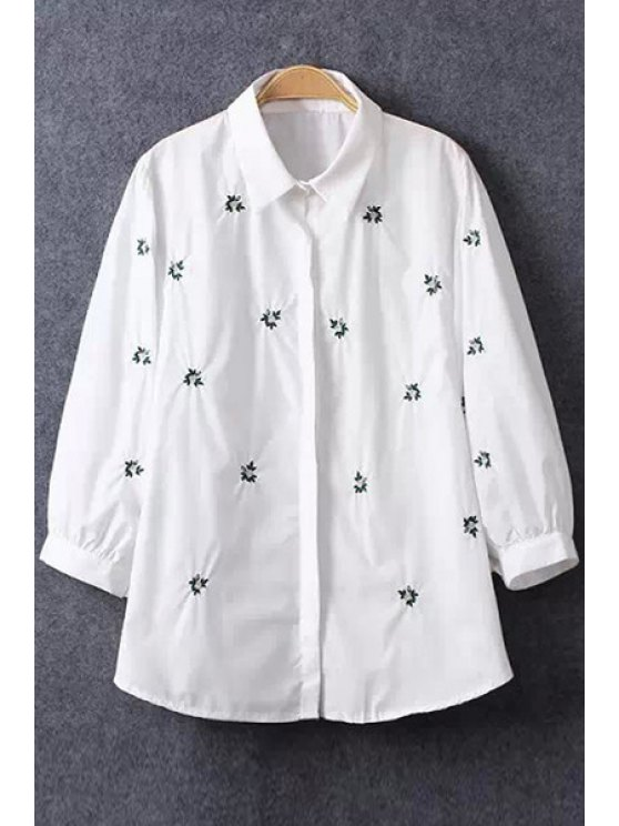 fancy Tiny Floral Embroidery Long Sleeve Shirt - WHITE S
