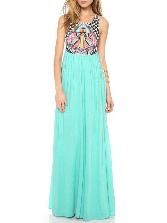 affordable Print Spliced Sleeveless Maxi Dress - GREEN S
