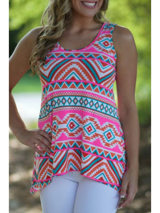 sale Tribal Print Scoop Collar Tank Top - AS THE PICTURE S