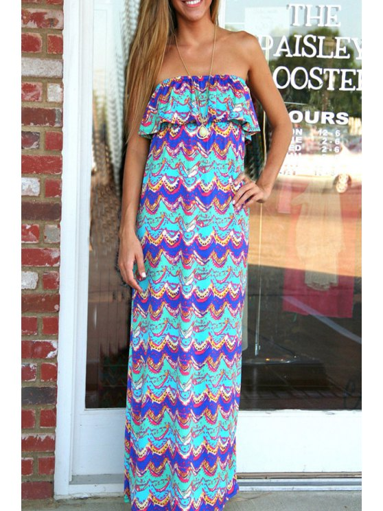 outfits Wavy Print Strapless Maxi Dress - AS THE PICTURE S